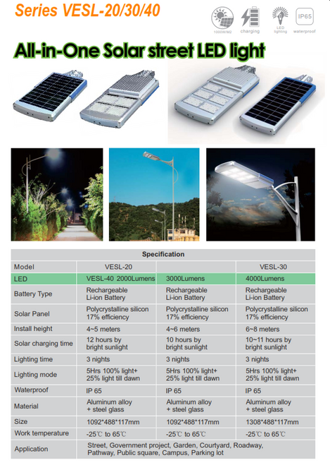 VESL-20/30/40 2000/3000/4000 Lumen  All in One solar  street light