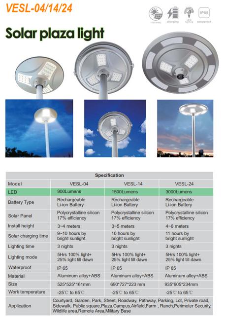 VESL-04/14/24   900/1500/3000 Lumen  All in One solar Plaza light