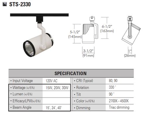 STS-2330  120V and 220V-230VLED Track Head Track Lighting
