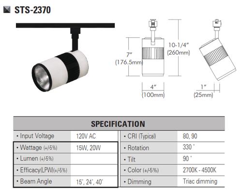 STS-2370  120V and 220V-230VLED Track Head Track Lighting