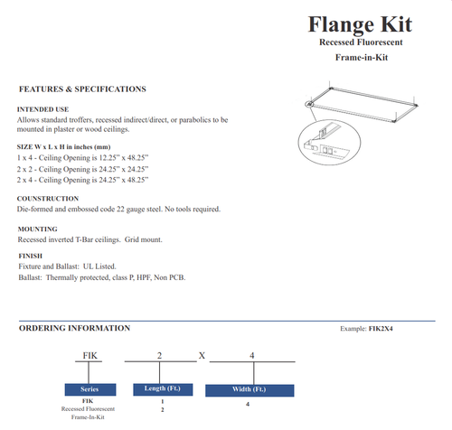 Flange Kits for Recessed Troffers (Economy)