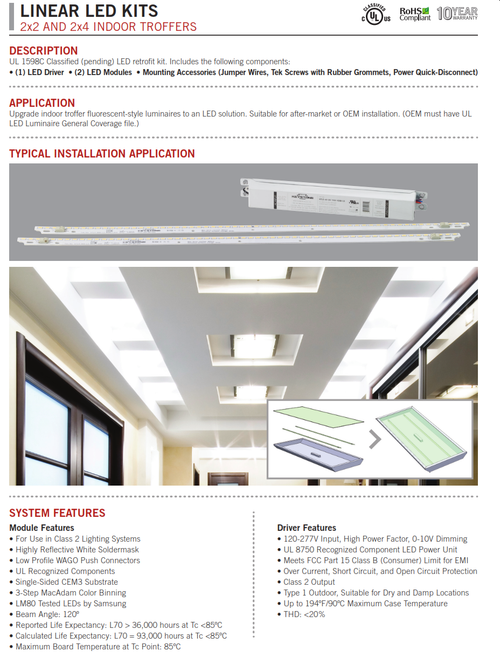 2x2 and 2x4 Troffer Linear LED Retrofit Kits