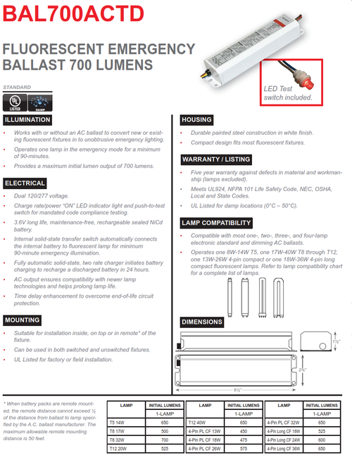 BAL700ACTD   700 Lumen Emergency Fluorescent Ballast, AC Output with Time Delay