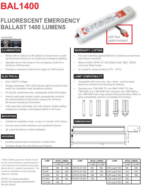 BAL1400   1400 Lumen Emergency Fluorescent Ballast
