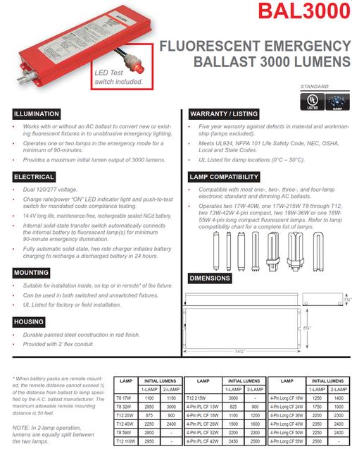 BAL3000   3000 Lumen Emergency Fluorescent Ballast