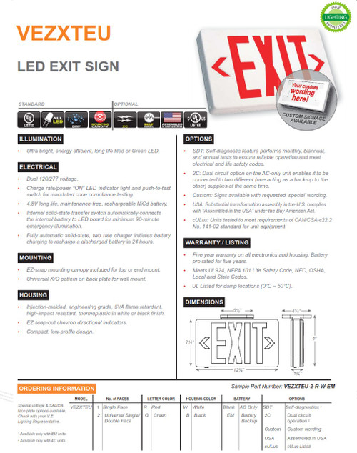 VEZXTEU Thermoplastic Exit Sign