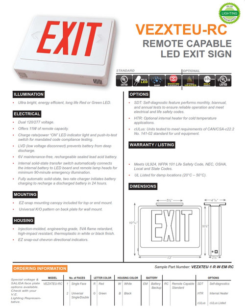 VEZXTEU-RC Remote CapableThermoplastic Exit Sign