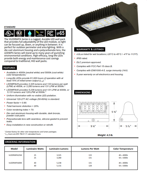 LED ADJUSTABLE WALL PACK 25 WATTS 4000K & 5000K -The LEDWPA Series is a rugged, durable LED wall pack that provides full adjustability of the LED module, so light can be focused up, down, or anything in between.