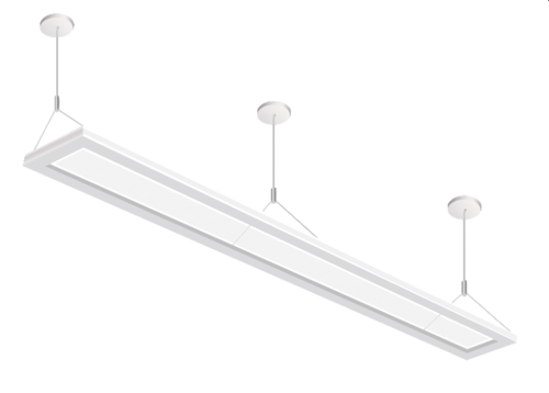The suspended Up/down LED Luminaire is a commercial pendant lighting fixture utilizing an advanced LED optical system to achieve superior performance. The unique design is nearly transparent luminaire when off and excellent uniformity and efficiency when on, reaching 55% downlighting and 45% uplighting distribution, making the illusion of the light floating in mid-air, included UL Recognized constant current driver which support 0-10V dimming and step dimming, suitable for indoor lighting.