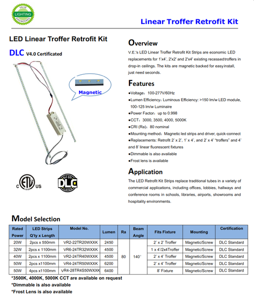 "V.E.'s LED Linear Troffer Retrofit Kit Strips are economic  LED replacements for 1'x4', 2'x2' and 2'x4' existing recessed troffers in drop-in ceilings. The kits are magnetic backed for easy install,just need seconds.  ●Voltage:100-277V/60Hz●Lumen Efficiency:Luminous Efficiency: >150 lm/w LED module, 100-125 lm/w Luminaire●Power Factor:up to 0.998●CCT:3000, 3500, 4000, 5000K●CRI (Ra):80 nominal●Mounting method:Magnetic led strips and driver, quick-connect ●Replacements: Retrofit 2' x 2', 1' x 4', and 2' x 4' ""troffers"" and 4' and 8' linear fluorescent fixtures●Dimmable is also available●Frost lens is available  The LED Retrofit Kit Strips replace traditional tubes in a variety of commercial applications, including offices, lobbies, hallways and conference rooms in schools, libraries, airports, showrooms and hospitality environments."