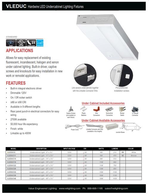 LED Architectural Undercabinet Light