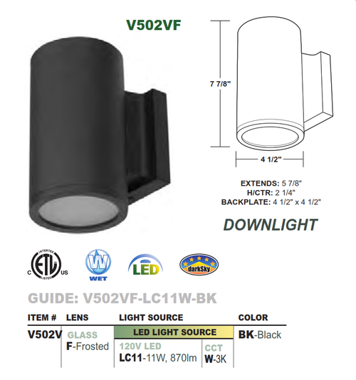 "4.5"" Diameter LED Wallmount Downlight Cylinder"
