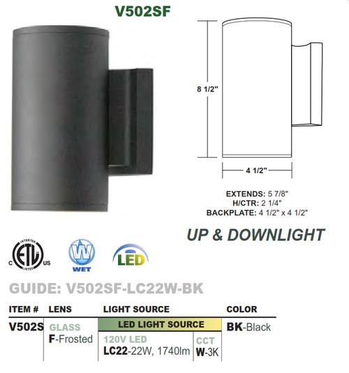 """4.5"""" Diameter LED Wallmount Uplight/Downlight Cylinder"""