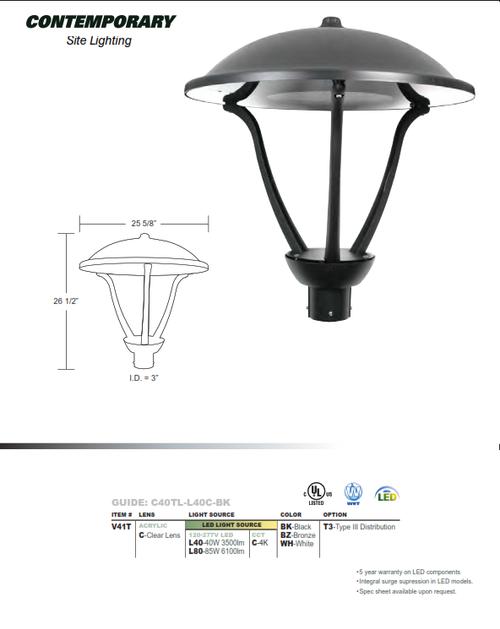 LED Contemporary Area Light-Type III Distribution