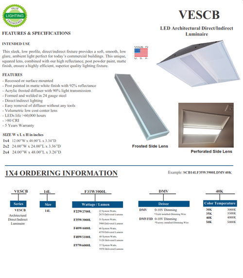 VECB   LED Architectural Direct/Indirect Recessed Fixture