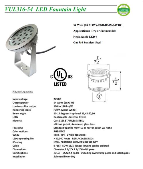 VEUL36-54W    54 Watt LED RGB-DMX Fountain Light