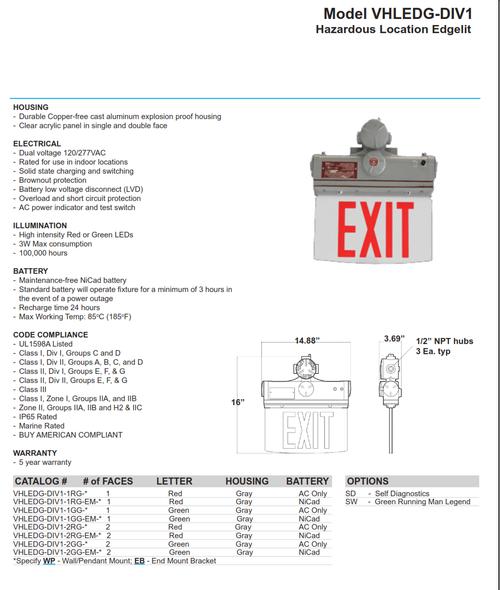 Hazardous Location LED Edgelit Exit Sign