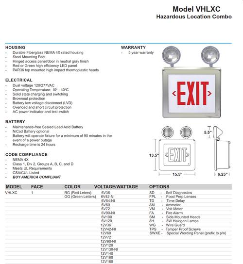 Hazardous Location Exit/Emergency Combination Sign Light