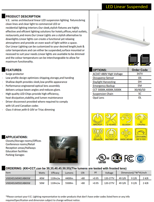 V.E.  series architectural linear LED suspension lighting  fixtures bring clean lines and clear light to commercial LED