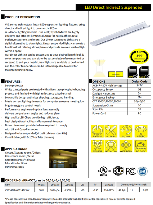 V.E. series architectural linear LED suspension lighting  fixtures bring direct and indirect light to commercial LED or residential lighting interiors.
