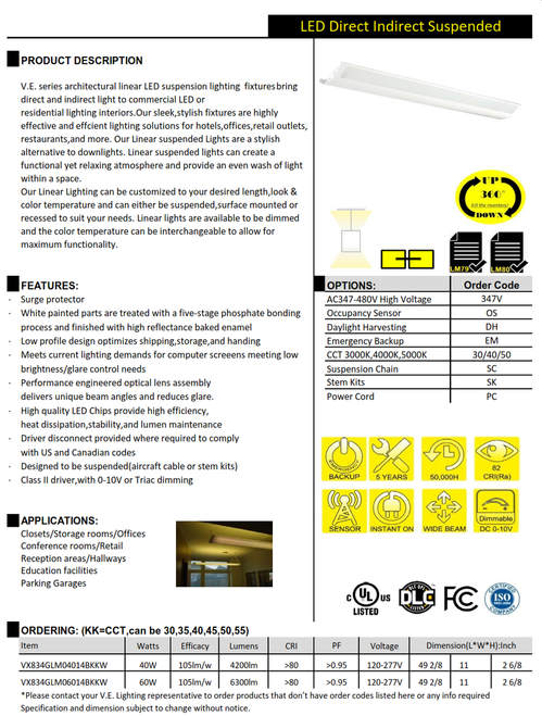 V.E. series architectural linear LED suspension lighting  fixturesbring direct and indirect light to commercial LED or residential lighting interiors.