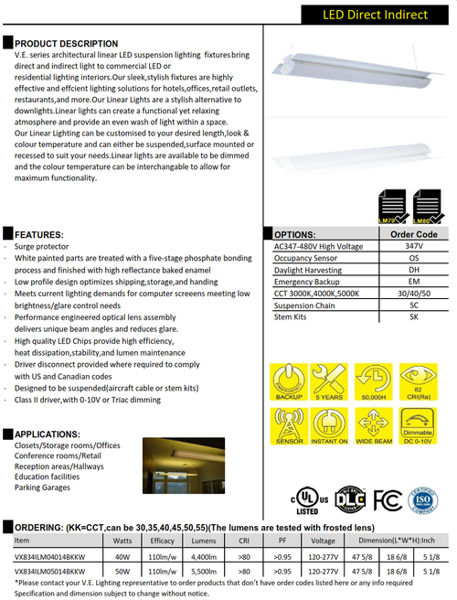 V.E. series architectural linear LED suspension lighting  fixtures bring direct and indirect light to commercial LED or residential lighting interiors