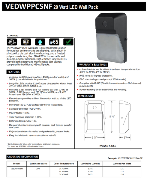20 Watt LED Mini Wallpack