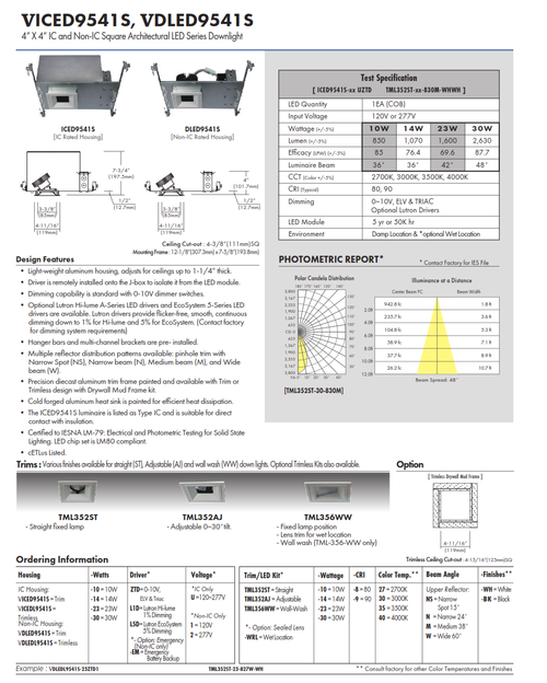 """4"""" X 4"""" IC and Non-IC Square Architectural LED Series Downlight"""