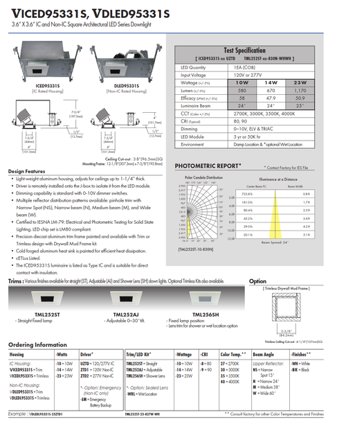 """3.6"""" X 3.6"""" IC and Non-IC Square Architectural LED Series Downlight"""