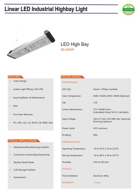 LED Linear Industrial Highbay Light