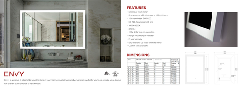 Many Styles and Sizes of Architectural Mirrors with L.E.D. Light