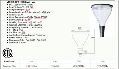 VMLED6135 20-30 watt LED Decorative Street Light