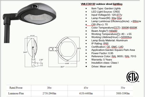 VMLED6132 30-55 watt LED Decorative Street Light