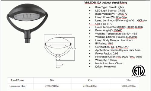 VMLED 6113A LED Decorative Area Light