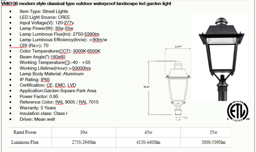VMLED6136 Modern Style Classic Outdoor Post Light