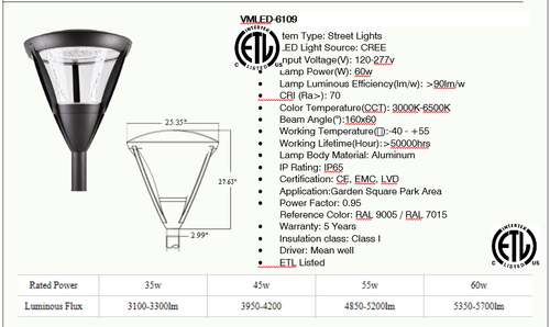 VMLED 6109 LED Contemporary Decorative Post Top Light