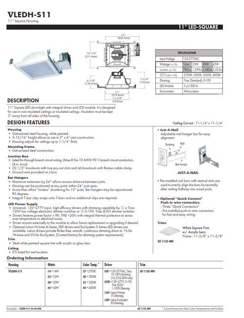 """VLEDH-S11   11"""" Square LED Recessed Canopy Light"""