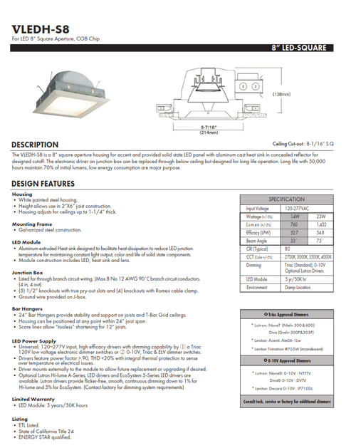 """VLEDH-S8  8"""" Square LED recessed Downlight"""