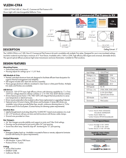 """4"""" Commercial LED Recessed Downlight"""