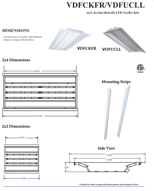 2x2 and 2x4 LED Troffer Retrofit Kits