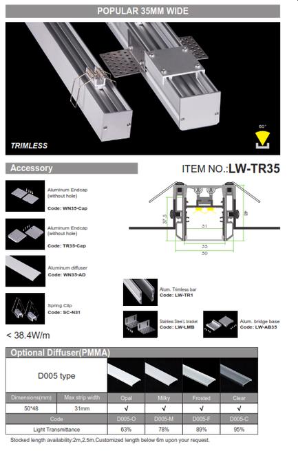 LW-TR35 Trimless Recessed