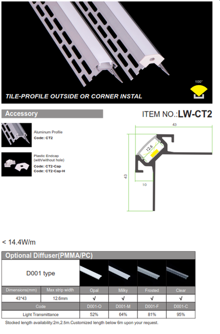 Tile Profile-Outside or Corner Install