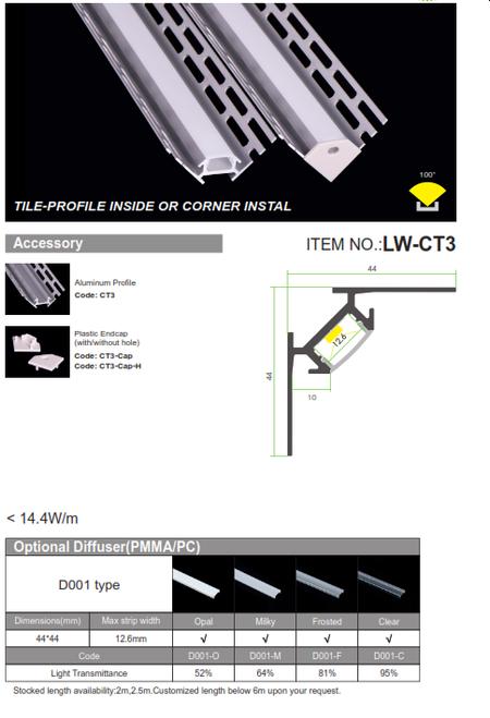 Tile Profile-Inside or Corner Install
