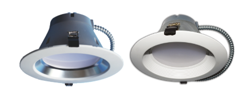 "8"" Architectural recessed downlight retrofit solution with integrated LED power supply and thermal management system combined in a single compact unit designed to fit most standard 8"" recessed cans."
