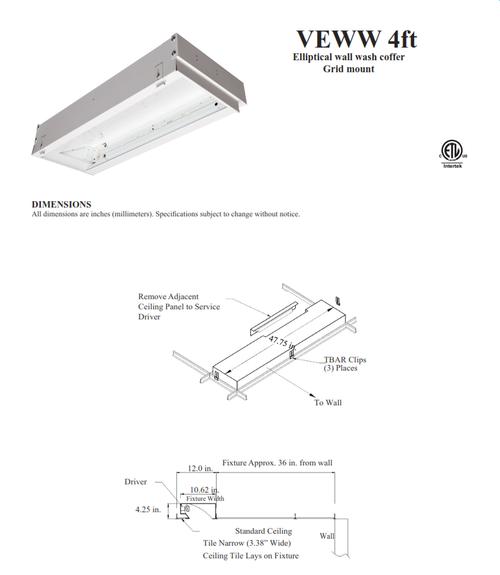 L.E.D. Recessed Linear Wallwash Fixture
