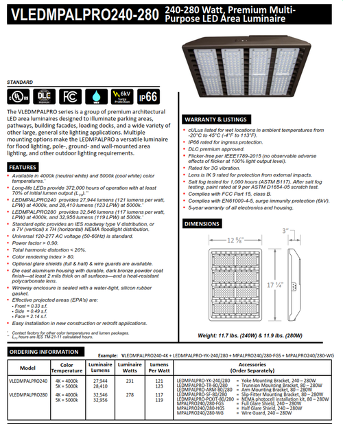 240 and 280 Watt LED Multi-Purpose Area Luminaire