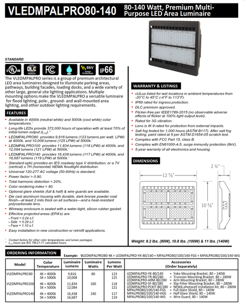 80, 100 and 140 Watt LED Multi-Purpose Area Luminaire