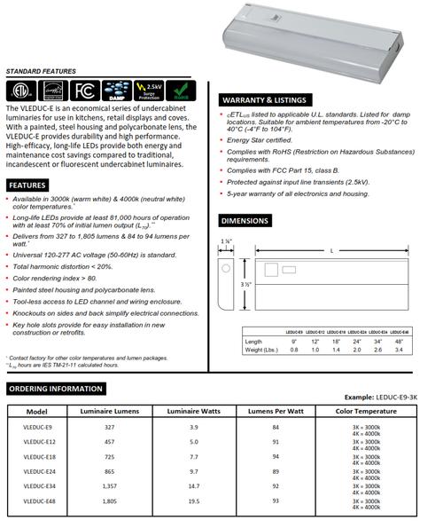 VLEDUC-E  Economy LED Undercabinet Light