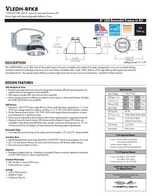 "8"" LED Remodel Recessed Downlight"