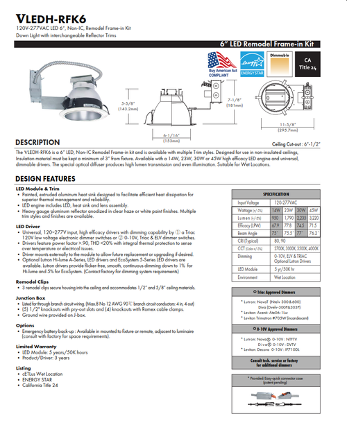 "6"" LED Remodel Recessed Downlight"